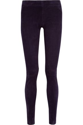 THE ROW Moto stretch-suede leggings