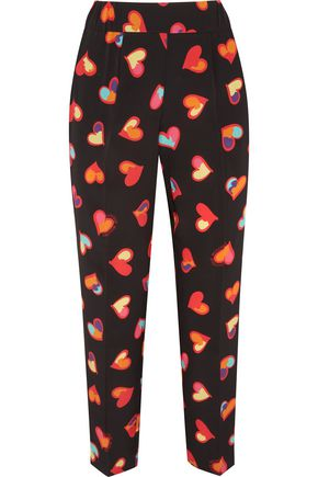 BOUTIQUE MOSCHINO Cropped printed silk crepe de chine tapered pants