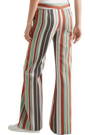 CHLOÉ Striped cotton-blend twill wide-leg pants