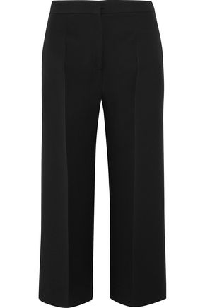 FENDI Cropped wool and silk-blend gazar wide-leg pants
