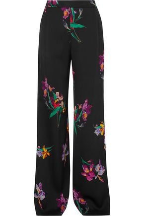ETRO Printed satin-crepe wide-leg pants
