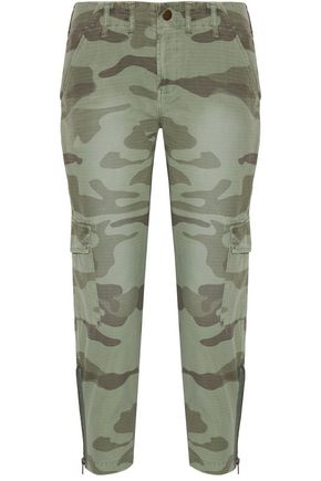 CURRENT/ELLIOTT Printed cotton-canvas tapered pants