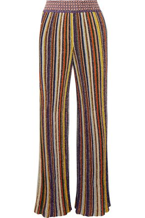 MISSONI Striped metallic crochet-knit wide-leg pants