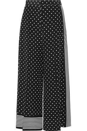 STELLA McCARTNEY Cropped printed silk crepe de chine wide-leg pants