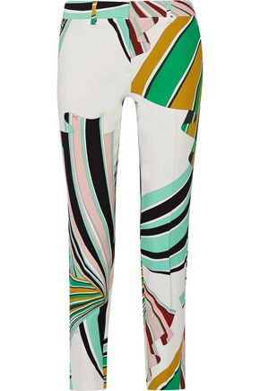 Printed stretch-twill skinny pants