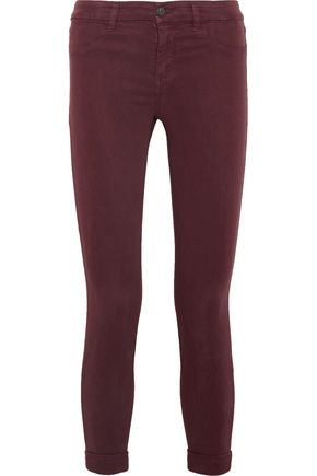 J BRAND Cropped stretch-sateen skinny pants