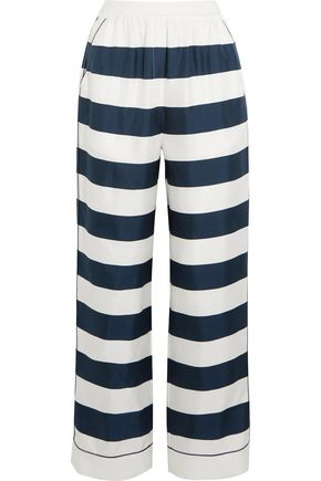 DOLCE & GABBANA Striped silk-twill high-rise pants