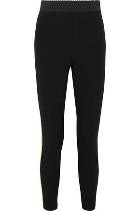 DOLCE & GABBANA Satin-trimmed stretch wool and silk-blend leggings