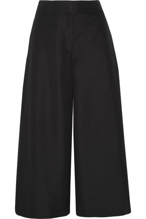 VALENTINO Cropped silk-shantung wide-leg pants