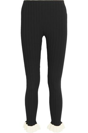 Ruffled cotton-trimmed ribbed stretch-knit leggings