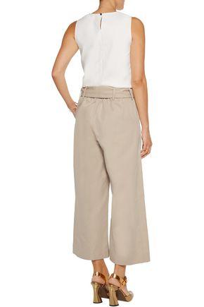 TANYA TAYLOR Tilda cropped cotton-twill wide-leg pants