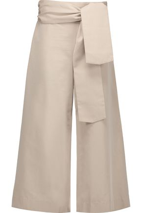 TANYA TAYLOR Tilda cropped cotton-twill wide-leg pants