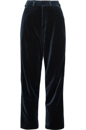 VETEMENTS + Brioni cotton and silk-blend velvet straight-leg pants