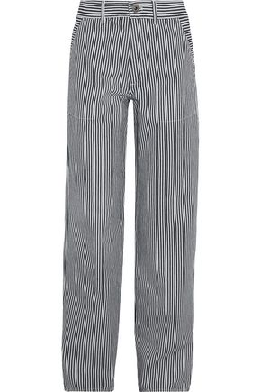 ChloÉ Striped Cotton Pants In Navy