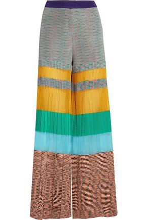MISSONI Pleated striped crochet-knit wide-leg pants