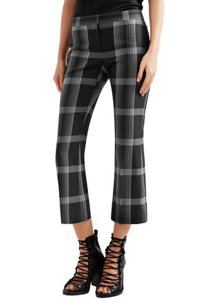 ALEXANDER MCQUEEN Cropped checked silk and wool-blend flared pants
