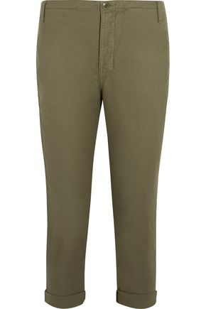 THE GREAT. The Carpenter cropped twill slim-leg pants