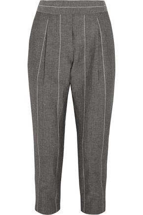 BRUNELLO CUCINELLI Cropped striped linen and wool-blend straight-leg pants