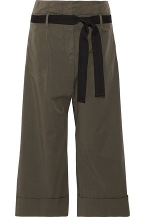 BRUNELLO CUCINELLI Belted stretch-cotton wide-leg pants