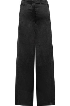 VALENTINO Hammered-satin wide-leg pants