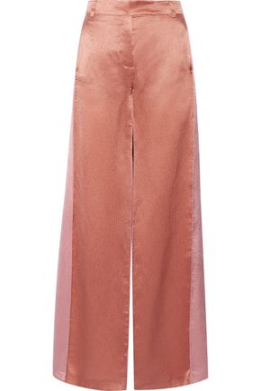 VALENTINO WOMAN TWO-TONE HAMMERED-SATIN WIDE-LEG PANTS COPPER, PINK