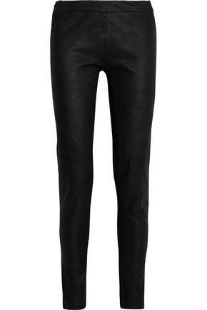 GARETH PUGH Jersey-paneled suede leggings