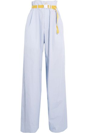 MAISON MARGIELA Belted pinstriped cotton-poplin wide-leg pants