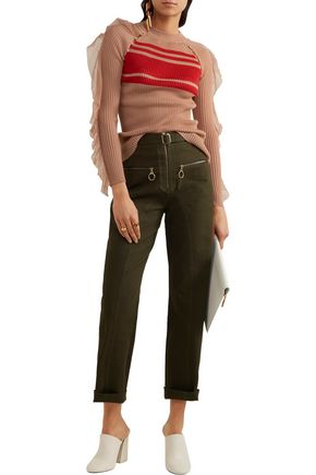 SELF-PORTRAIT Belted cotton-blend twill straight-leg pants