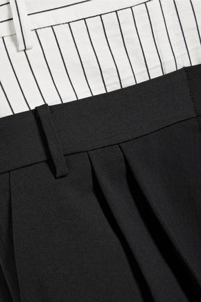 TIBI Cecil cropped striped linen blend-paneled crepe wide-leg pants
