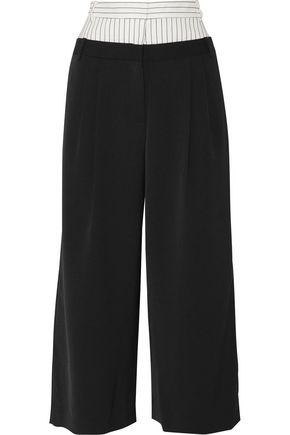 TIBI Cecil cropped striped linen blend-paneled crepe wide-leg pants