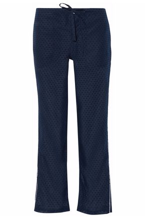 SLEEPY JONES Swiss-dot cotton pajama pants