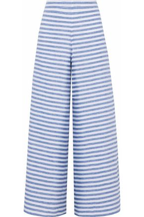 SLEEPY JONES Striped linen pajama pants