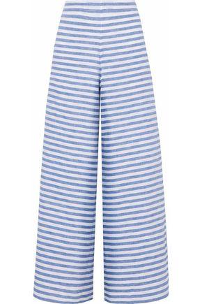 SLEEPY JONES Striped linen pajama pants