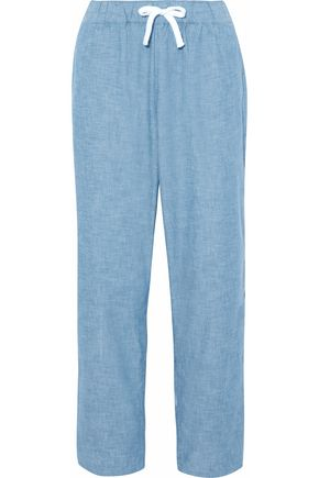 SLEEPY JONES Cotton-chambray pajama pants