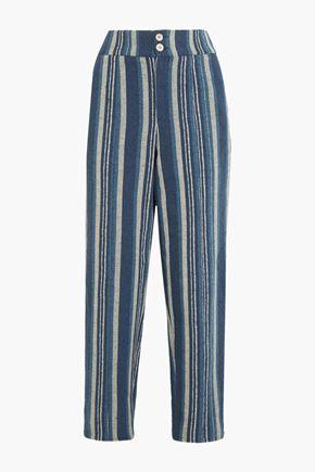 CHLOÉ Striped cotton-blend straight-leg pants