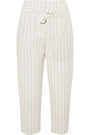BRUNELLO CUCINELLI Cropped striped wool and linen-blend tapered pants