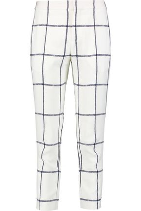 CHLOÉ Checked crepe-twill slim-leg pants
