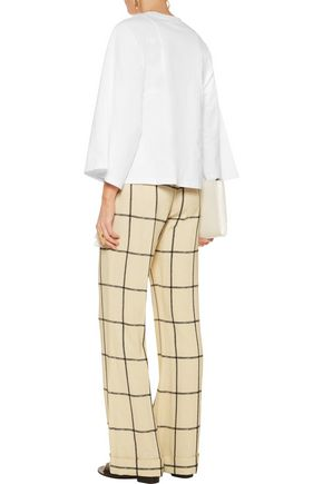 CHLOÉ Checked crepe wide-leg pants