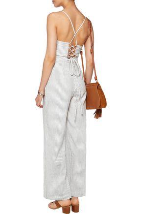 MAJE Metallic striped cotton-blend jumpsuit