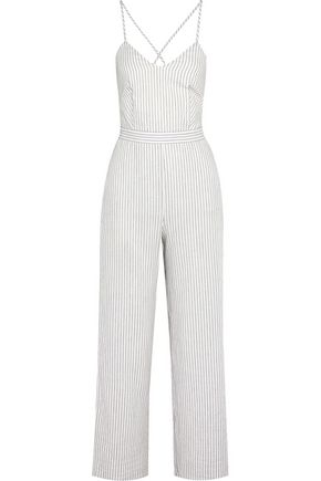 MAJE Metallic striped cotton-blend jumpsuit
