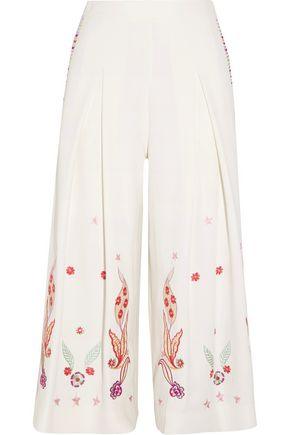 TEMPERLEY LONDON Lysander cropped embroidered crepe wide-leg pants