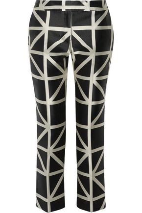 MILLY Satin-jacquard slim-leg pants