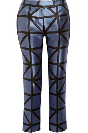 MILLY Satin-jacquard skinny pants