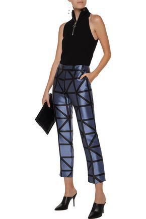 MILLY Satin-jacquard skinny pants