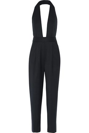 MILLY Pleated stretch-wool halterneck jumpsuit
