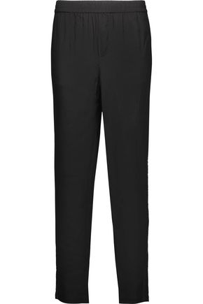 JOIE Sequin-embellished silk-satin tapered pants