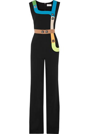 PETER PILOTTO Stud-embellished neon wool crepe-trimmed cady jumpsuit