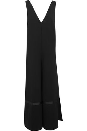 Elanor grosgrain-trimmed crepe and satin jumpsuit
