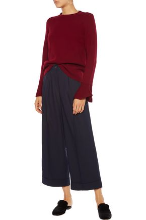 IRIS AND INK Esther cropped crepe wide-leg pants