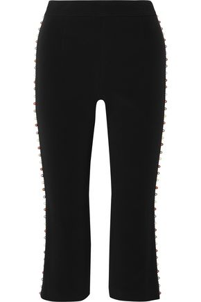 JONATHAN SIMKHAI Cropped faux pearl-embellished crepe slim-leg pants